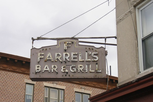 Old-time sign over Farrell's Bar and Grill