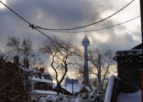 CN Tower shrouded in lingering Presbyterian fog