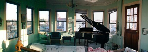 Piano in room