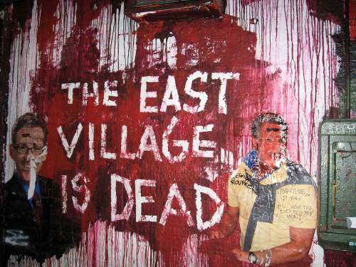 The East Village is Dead mural outside Mars Bar