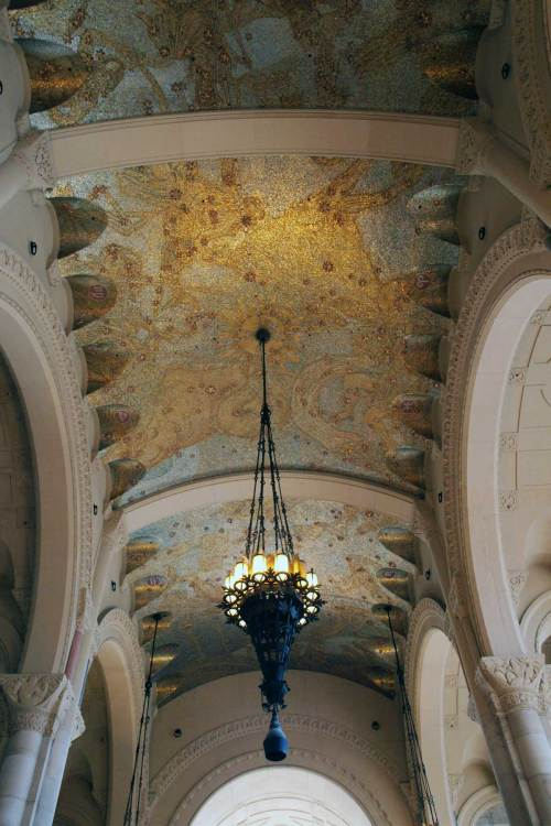 Chandelier and ceiling