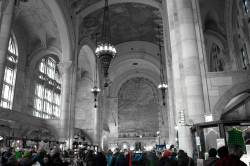 Black and white Williamsburg savings bank lobby