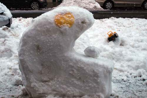 Pac Man Snowman in Bed-Stuy