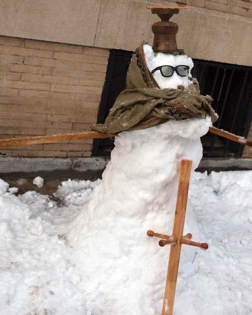 Monk Snowman in Clinton Hill