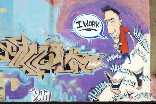 Graffiti - everyone laughing at 'I Work'