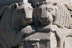 Lions Statues holding lockbox in Williamsburg Bank Building