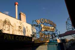 Mural and wonder wheel sign Coney Island