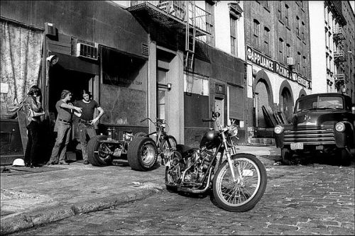 motorcycle shop in Tribeca, 1970's.