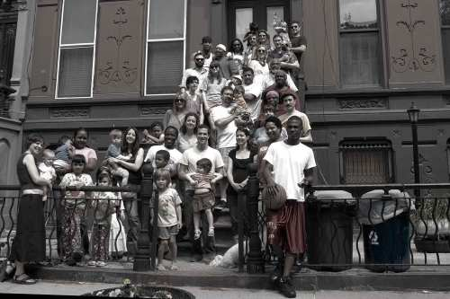 Neighborhood gathered on the stoop for NY Times Group Photo